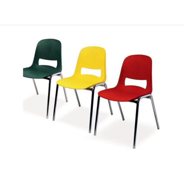 Sedia in acrilico e metallo colore rosso panche e sedie for Arredo scuola materna