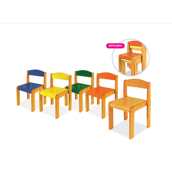Sedia in legno seduta cm 30 colore verde panche e sedie for Arredo scuola materna