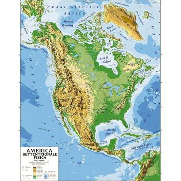 Cartina Geografica Bifacciale 100x140cm America Nord Carte