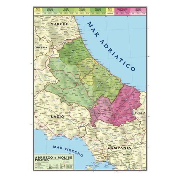 Cartina Geografica Fisica Puglia.Cartina Geografica Bifacciale 100x140cm Regione Abruzzo E Molise Carte Geografiche E Globi Cwr
