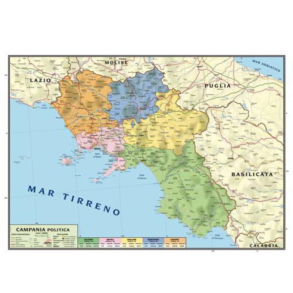Regione Calabria Cartina Politica.Cartina Geografica Bifacciale 100x140cm Regione Campania Carte Geografiche E Globi Cwr