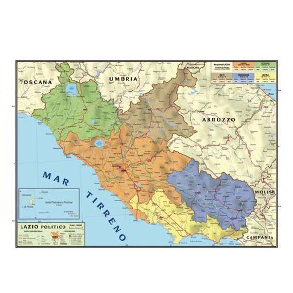 Toscana Cartina Geografica Politica.Cartina Geografica Bifacciale 100x140cm Regione Lazio Carte