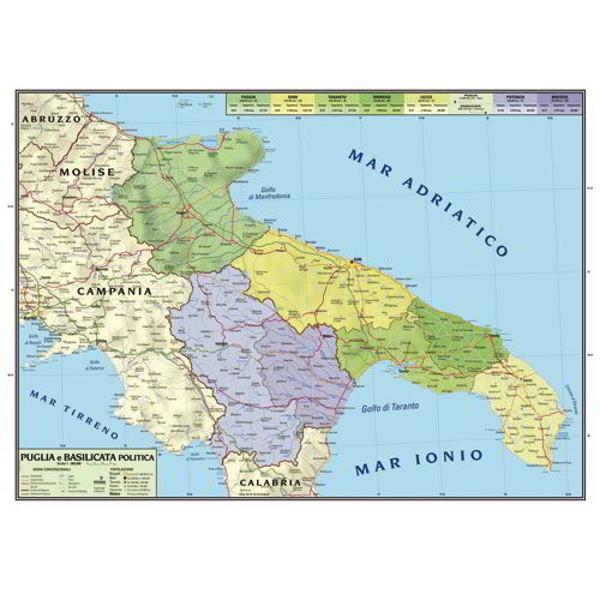 Cartina Puglia E Molise.Cartina Geografica Bifacciale 100x140cm Regione Puglia E Basilicata Carte Geografiche E Globi Cwr