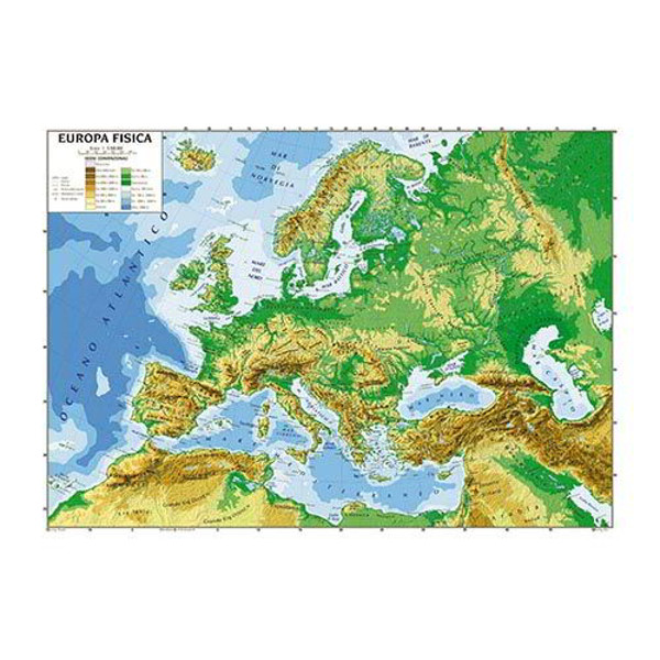 Cartina Geografica Europa Meridionale.Cartina Geografica Bifacciale 100x140cm Europa Carte Geografiche E Globi Cwr